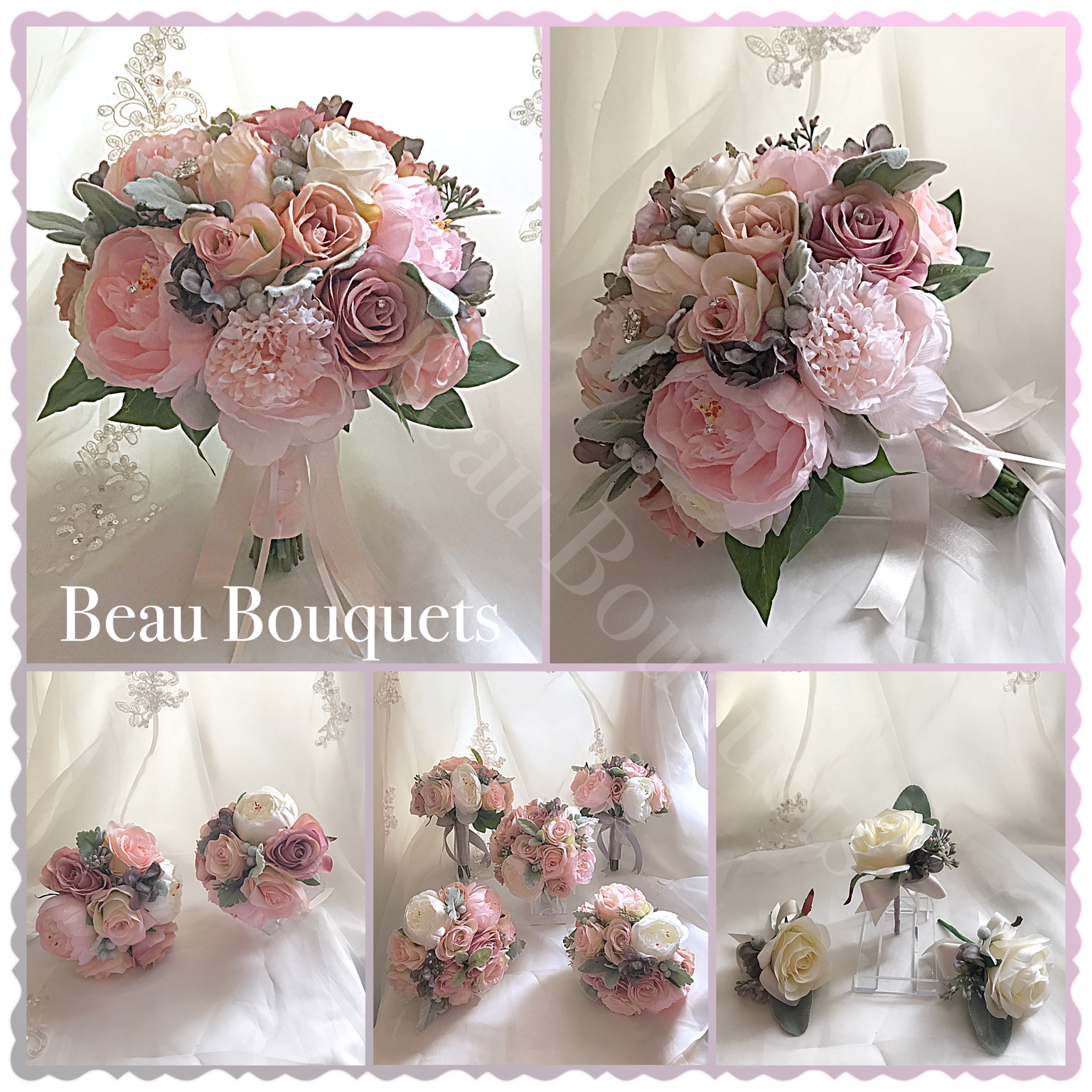 AMORE - Round Bride Bouquet package Rose, peony, delphinium, berry & waxflower with dusky miller foliage ind soft pinks & grey
