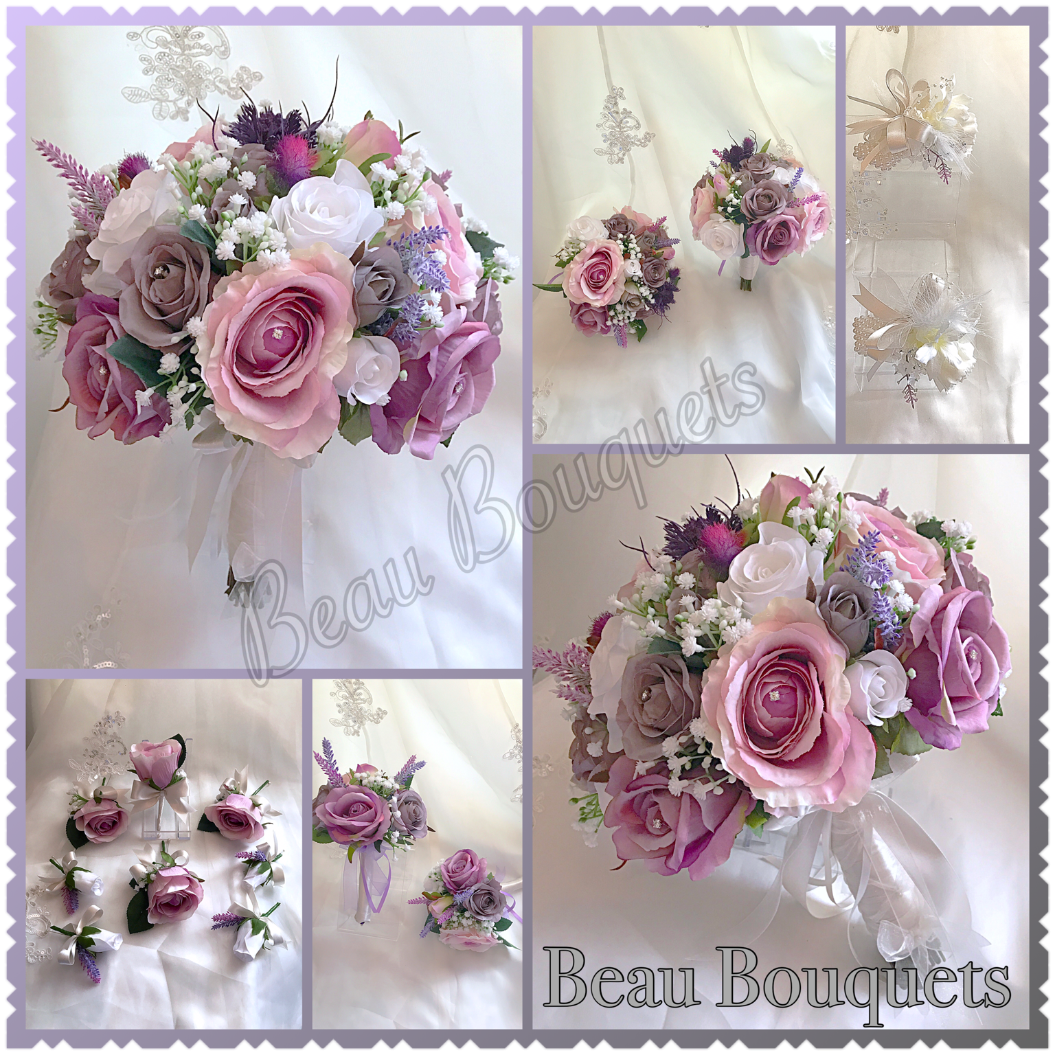 SMITTEN - LILAC & PINK PEONY ROSE & GYPSOPHILA PACKAGE