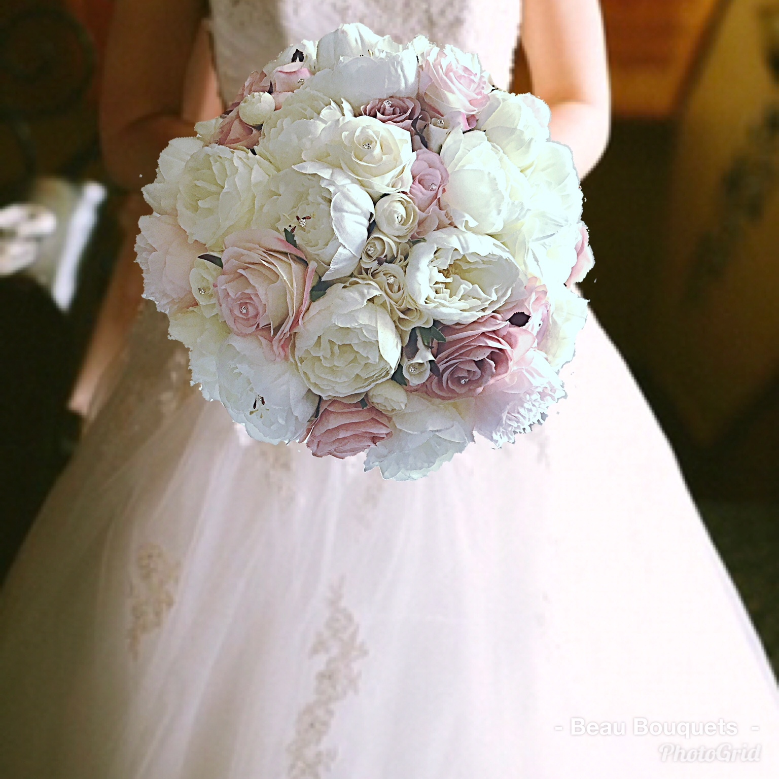 PASSION -OVERSIZED ROUND BRIDE BOUQUET mix of large ivory peonies & roses with dusty pink touches