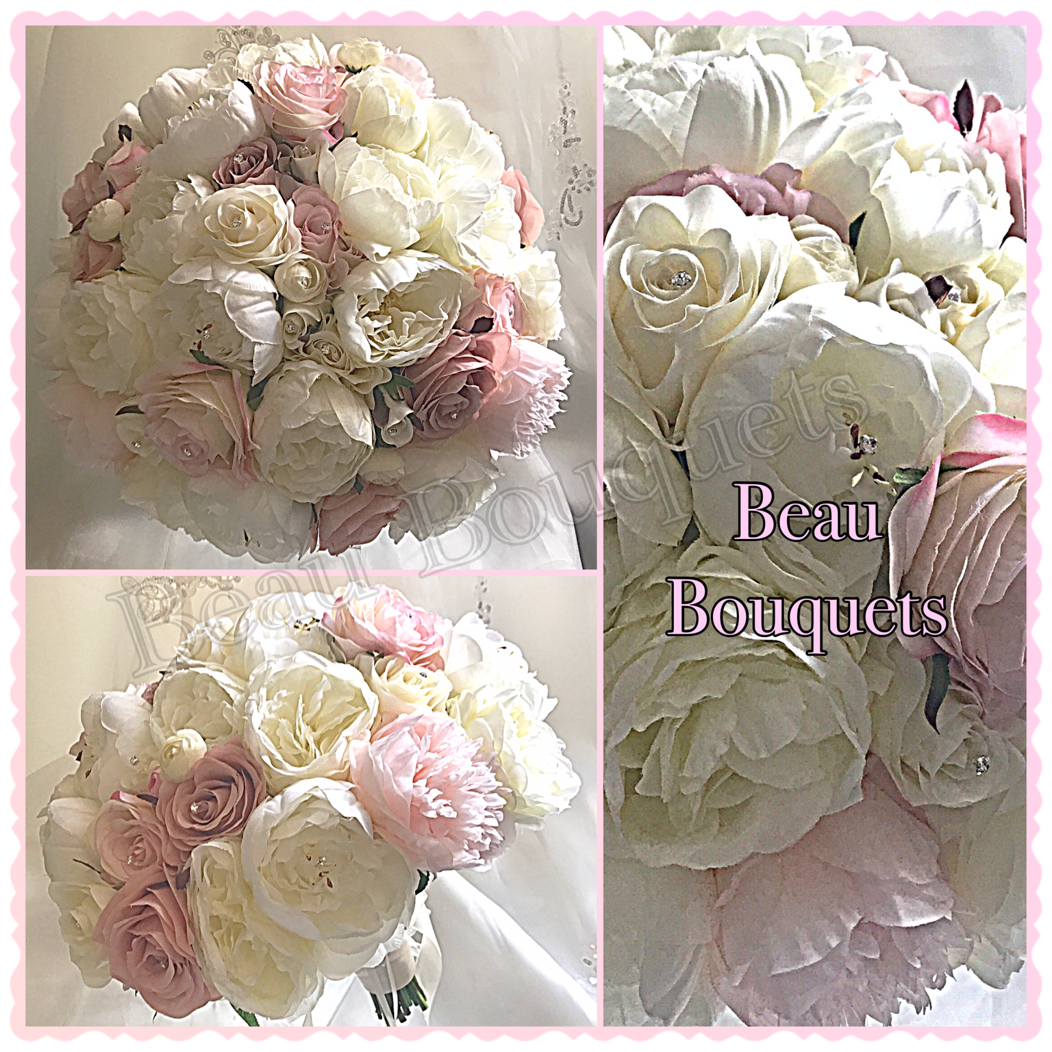 PASSION - Oversized round loose peony bride bouquet package mix of large ivory peonies & roses with dusty pink touches