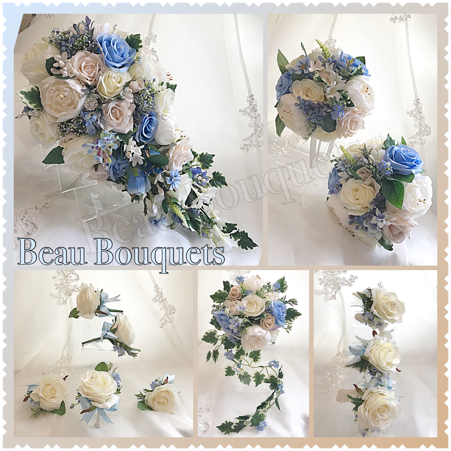 INFINITY - Cascade bride bouquet package Rose, peony, ranunculus, stephanotis in pale blue, champagne & ivory