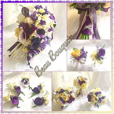 WONDERFUL - Teardrop bride bouquet package Real touch calla lily rose, lavender, lilac, delphinium in plum purples, lemons & ivory