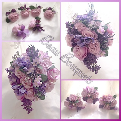 RADIANT - Soft teardrop bride bouquet package Lilac & plum purples with roses, lilac stephenotis, sweet pea, & plum lilacs