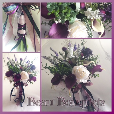 PRECIOUS - Scottish Spray bouquet package Scottish heather, ruscus, eucalyptus, thistle, rose & real touch calla lily in plum purples & ivory