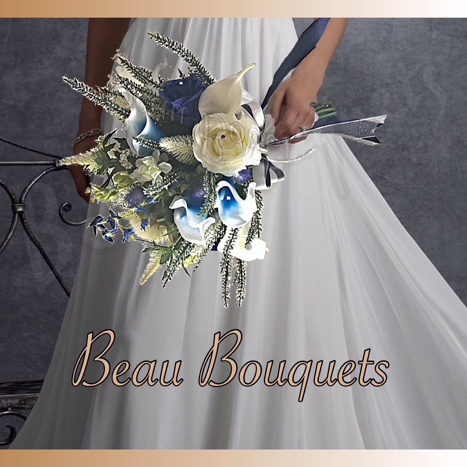 ENCHANTING - SCOTTISH SPRAY BRIDE BOUQUET Scottish heather, thistles, roses & real touch calla lilies with diamante detail in Azure blue Navy & ivory -