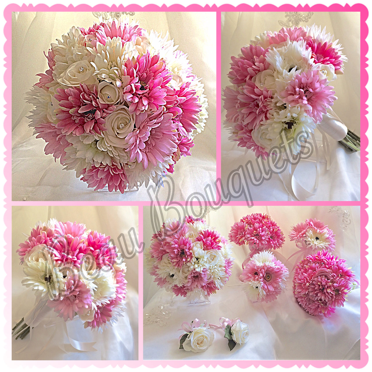 SWEET SUGAR - Gerbera bride bouquet package Cerise & bright pinks with white gerberas