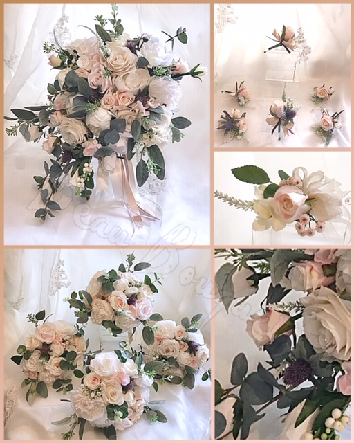LOVED BY YOU - Roses, eucalyptus, David Austin roses & mauve sea holly