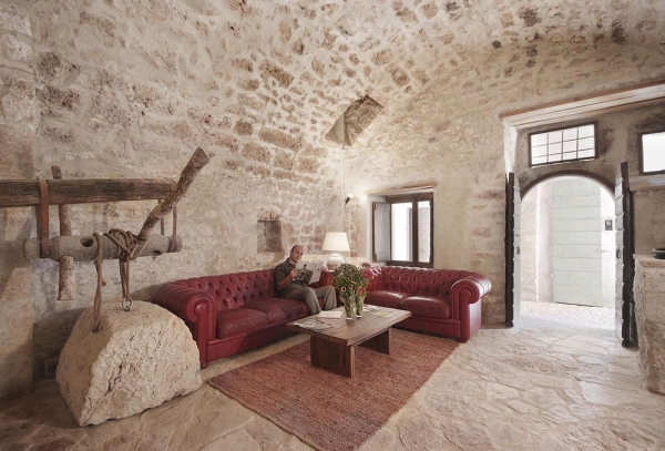 Olive press sitting room - open to all visitors