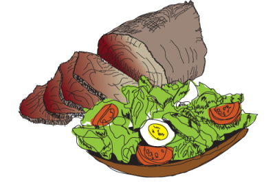 Spit roast beef lamb pork salad
