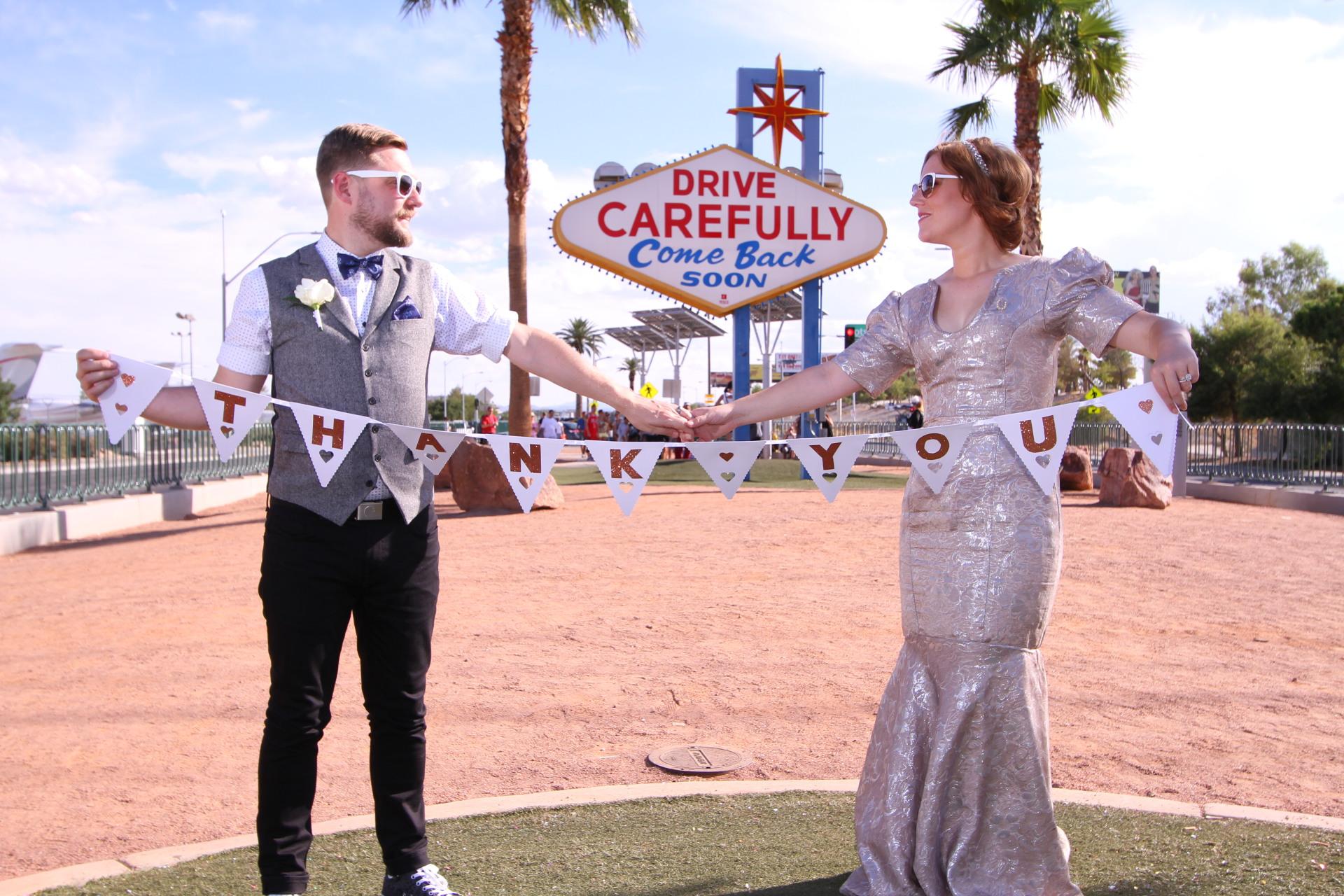 Las Vegas Sign Mr & Mrs - Real Elopement in Las Vegas
