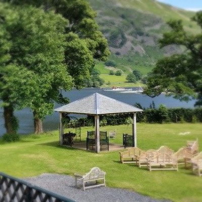 Gazebo on the lake shore at Ullswater - Epic Elopement