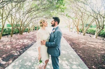 Bride & Groom in Dallas Arboretum and Botanical Garden