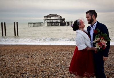 Bride & Groom on Brighton Beach