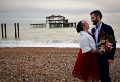 Bride & Groom on Brighton Beach