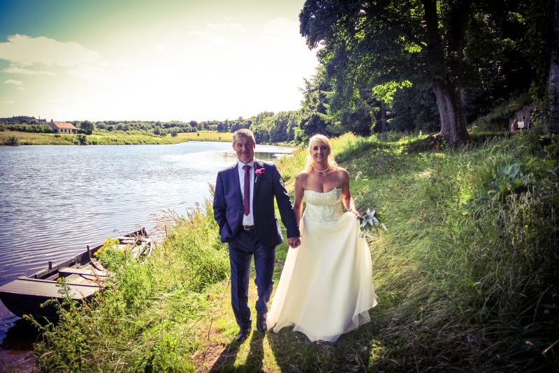 Bride & Groom on the River Tweed at Paxton House