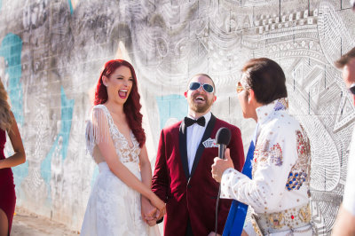 Bride & Groom in Las Vegas, Eloping to Las Vegas with Elvis and Taylored Photography