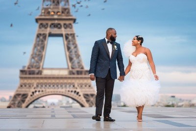 Eloping Bride and Groom in Paris, France