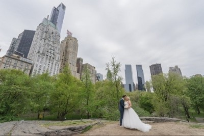 Bride and Groom in Central Park, New York