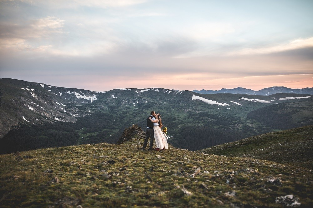 Bride and Groom in Rocky Mountain National Park, Colorado