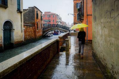 Lady in the rain, Venice Italy