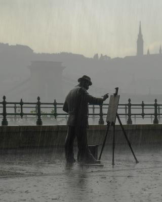 Bronze in the rain, Budapest