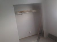 Finished closet, new look, awesome finish, professional drywall job.