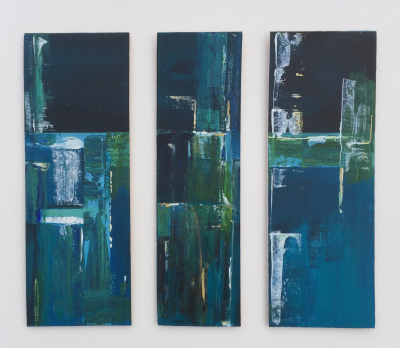 'Rustic Blue Tryptic' SOLD