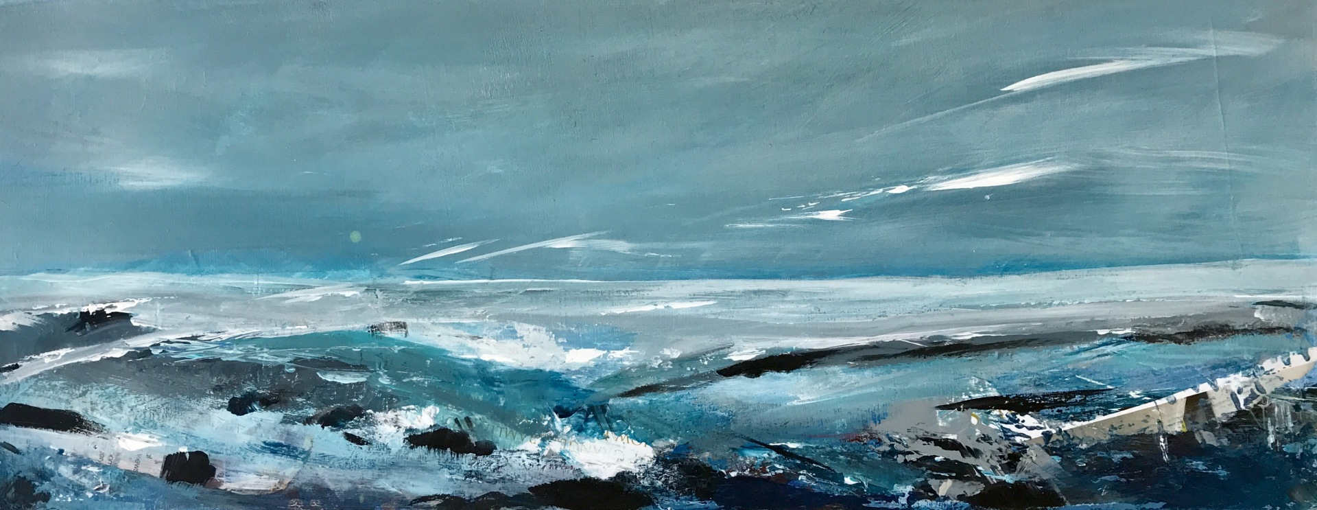 Craster seas, Northumbria - 51 x 20 cms