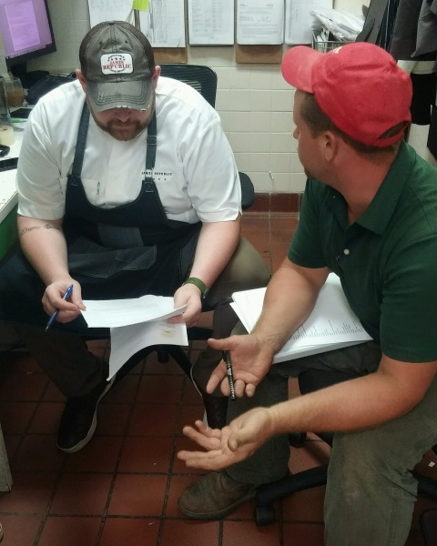 Chef Dave and Farmer Adam discussing future crops