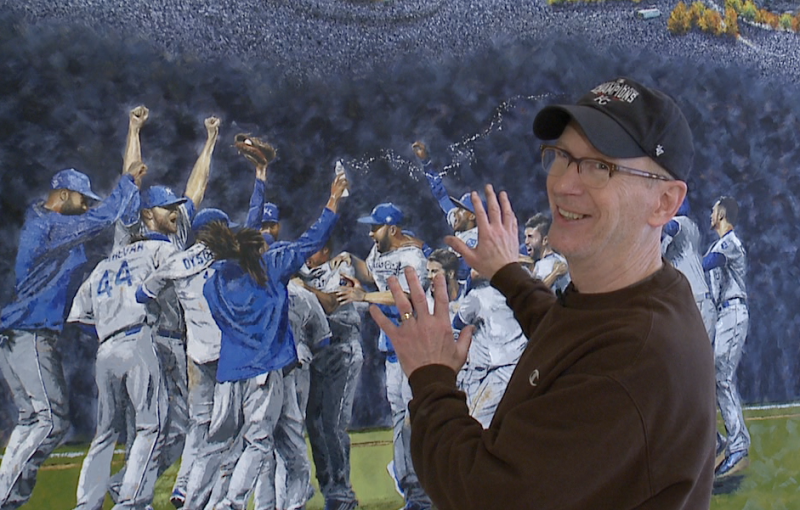 Kansas City artist creates World Series mural at Kauffman