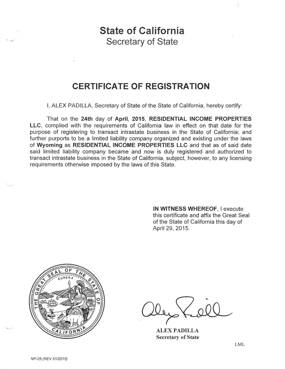 LLC Registration California
