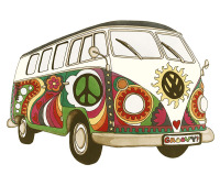 psychedelic, kombi, vw, peace, love, hippy, hippie, 60s, 70s,