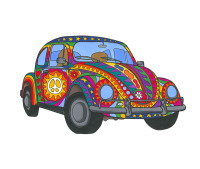 psychedelic, VW, beetle, peace, love, cool car, hippy, hippie, funky, cool, colourful, rainbow, art