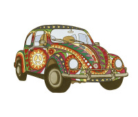 psychedelic, VW, beetle, vintage, peace, love, hippy, hippie, colourful, rainbow, unique, cool, funky, art,