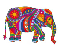psychedelic, elephant, peace, love, hippy, hippie, colourful, rainbow, unique, art funky, cool,