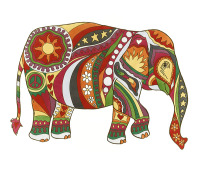psychedelic, elephant, vintage, peace, love, hippy, hippie, cool, colourful, unique, funky, rainbow, art,