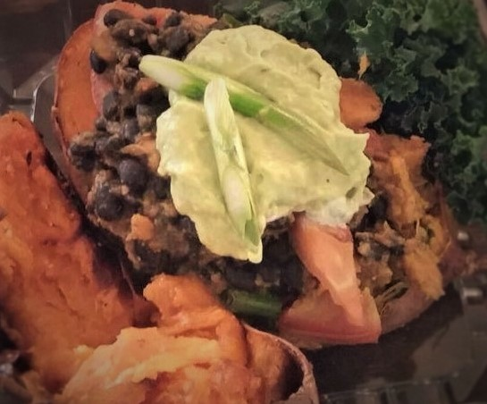 Stuffed Sweet Potato With Black Beans & Avocodos