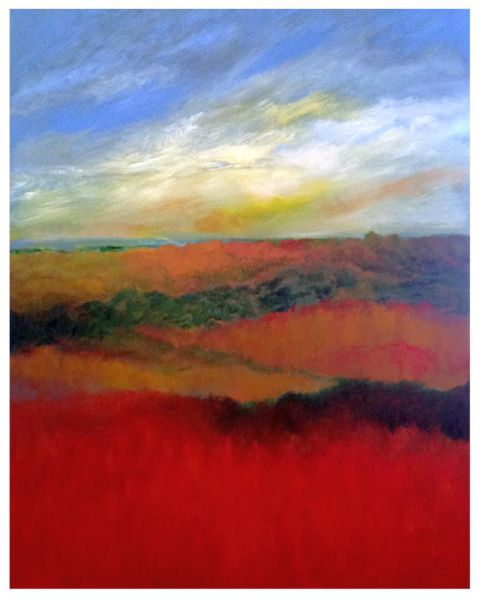 Red Fields oil on canvas 2016 Bruce Fortney Mineral Point Wisconsin