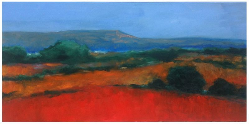 Red Fields, Blue Mounds Wisconsin Bruce Fortney