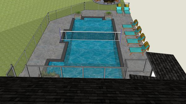pool, swimming pool, backyard, patio, 3D Design