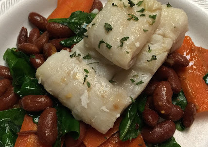 Cod over Beans and Veg