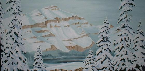 """The mountain has to go"" Acrylic 24"" x 36"" repurposed"