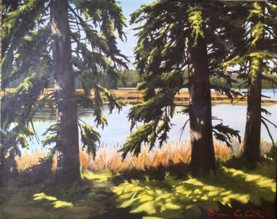 """""""Rosie's View"""" Acrylic 16"""" x 20"""" private collection"""