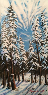 """Snow Giants""  Acrylic 24""  x 12"" donated to United Way"