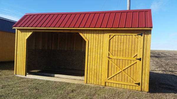 Single stall livestock shed 10x20