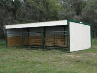 Horse barn, loafing shed, portable livestock building metal sides,