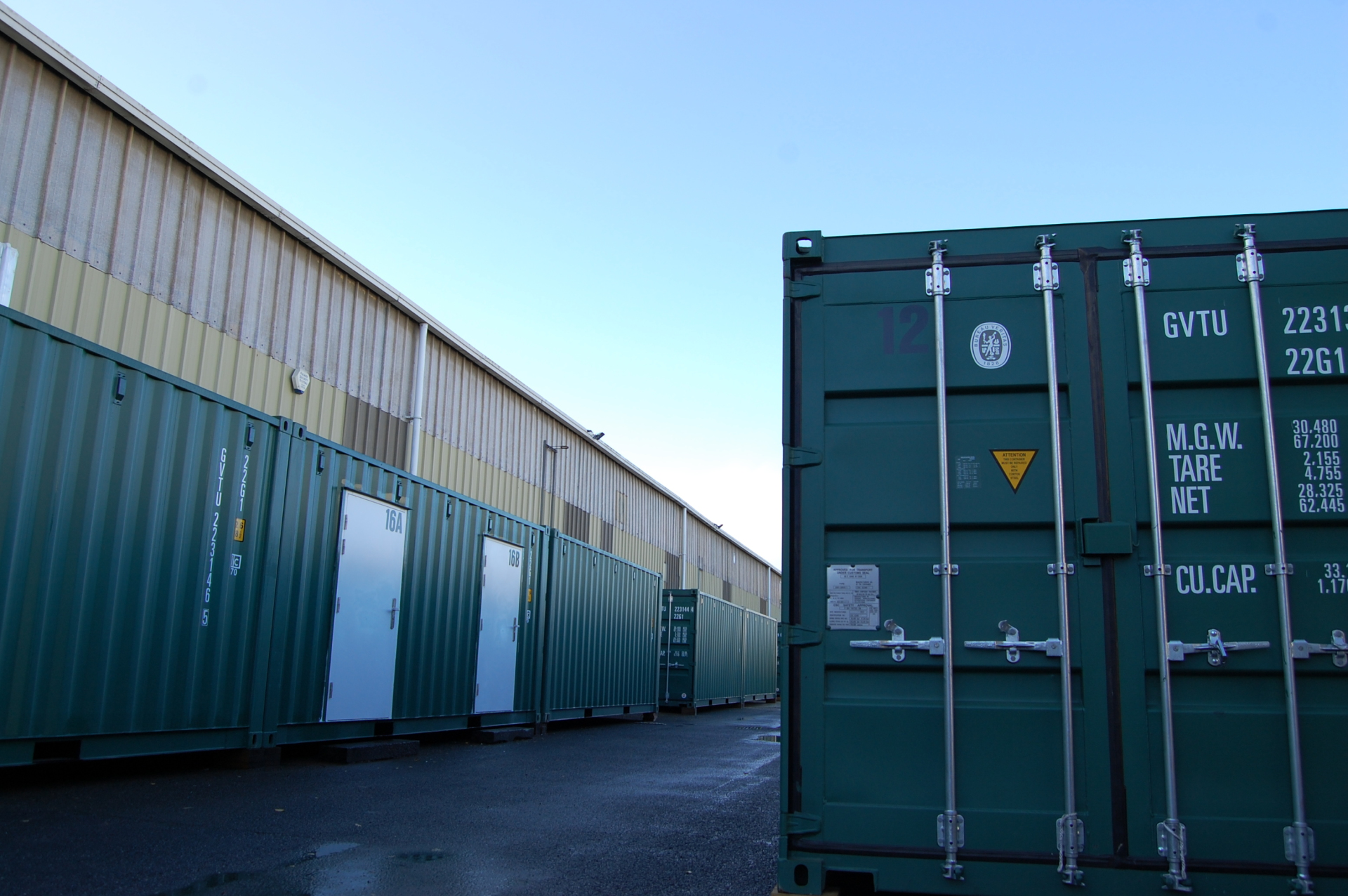 Storage containers and blue sky