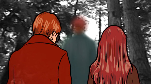 Grace and Joe follow their mother into the forest