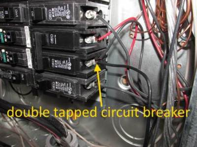 Double tapped circuit breaker in service panel