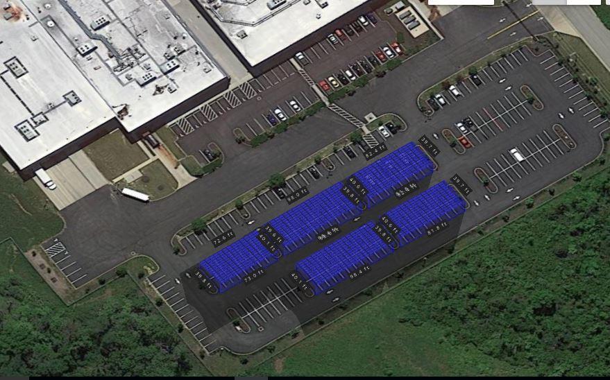 Closeup 3D view of a 260kw Solar Carport with REC290TP panels